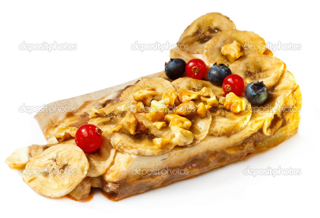 Banana dessert with nuts and berries — Stock Photo #7025523