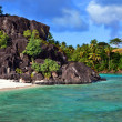 Stock Photo: Black rocks. Bora-Bora. Polynesia