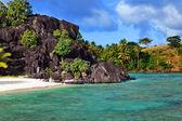 Black rocks. Bora-Bora. Polynesia — Stock Photo