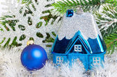 Toy small house - New Year's dream of own house — Zdjęcie stockowe