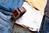 The trousers combined by piles and a belt — Stock Photo
