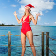 The woman in New Year's Santa-Klaus cap jamping on background of ocean — Stock Photo