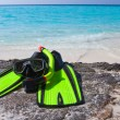 Accessory for Snorkeling -mask, flippers, tube-lay on sand — Stock Photo