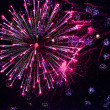 Stock Photo: Bright fireworks in night sky