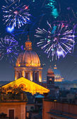 Celebratory fireworks over Rome. Italy. — Stock Photo