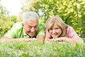 Smiling senior couple relaxed — Stock Photo