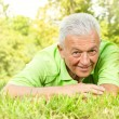 Portrait of smiling old man in the park — Stock Photo