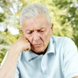 Portrait of worried senior man - Stockfoto