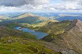 Mountain view from the Snowdon summit, Snowdonia, Wales — Stock Photo