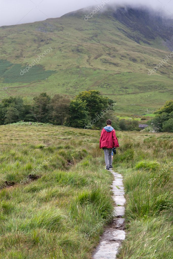 Male trekker walks along a mountain path in Snowdonia  Stock Photo #6915171