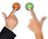 Buttons for family and career — Stockfoto