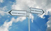 Road signs to good and bad wather — Stock Photo