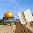 Girl reading book about Jerusalem — Stock Photo