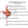 Stock Photo: Checklist for computer maintenance