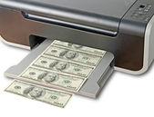 Printer printing fake dollar bills — Stock Photo