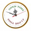 Stock Photo: Clock showing open and close time