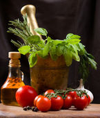 Still life with vegetable, herbs and olive — Stock Photo