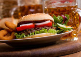 Hamburger with vegetables — Stock Photo