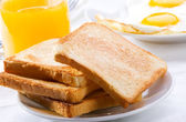 Breakfast with toasts — Stock Photo