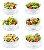 Set con diverse insalate — Foto Stock