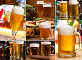 Collage with glasses of beer — Stock Photo