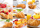 Collage of breakfast with croissants — Stock Photo