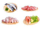 Set with different raw fish, chicken and meat — Stock Photo