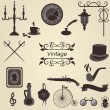 Set of vintage objects, vector — Stock Vector #7647728