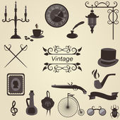 Set of vintage objects, vector — Stock Vector