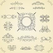 Set of calligraphic design elements, vector — Stock Vector