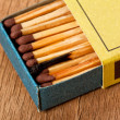 Close-up of one burn match in a matchbox — Stock Photo