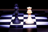 King and Queen pieces of chess game — Stock Photo