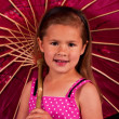 Small girl holding a umbrella — Stock Photo