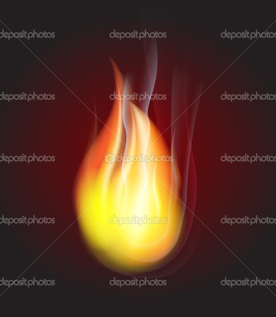 Bright fire on dark background — Stock Vector #7806866