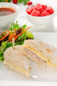 Tuna and cheese sandwich with salad — Stock Photo
