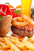 Classic hamburger sandwich and fries — Stock Photo
