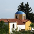 Typical Greek Orthodox church with blue domes on Kos — Stock Photo