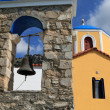 Typical Greek Orthodox church with blue domes on Kos. Dodecanese. Greece — Stock Photo