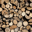 Firewood arranged by the country cottage - Stock Photo