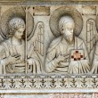 Pisa - part of relief on the front of the Baptistery — Stock Photo