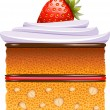 Cake with strawberries and whipped cream — Stock Vector