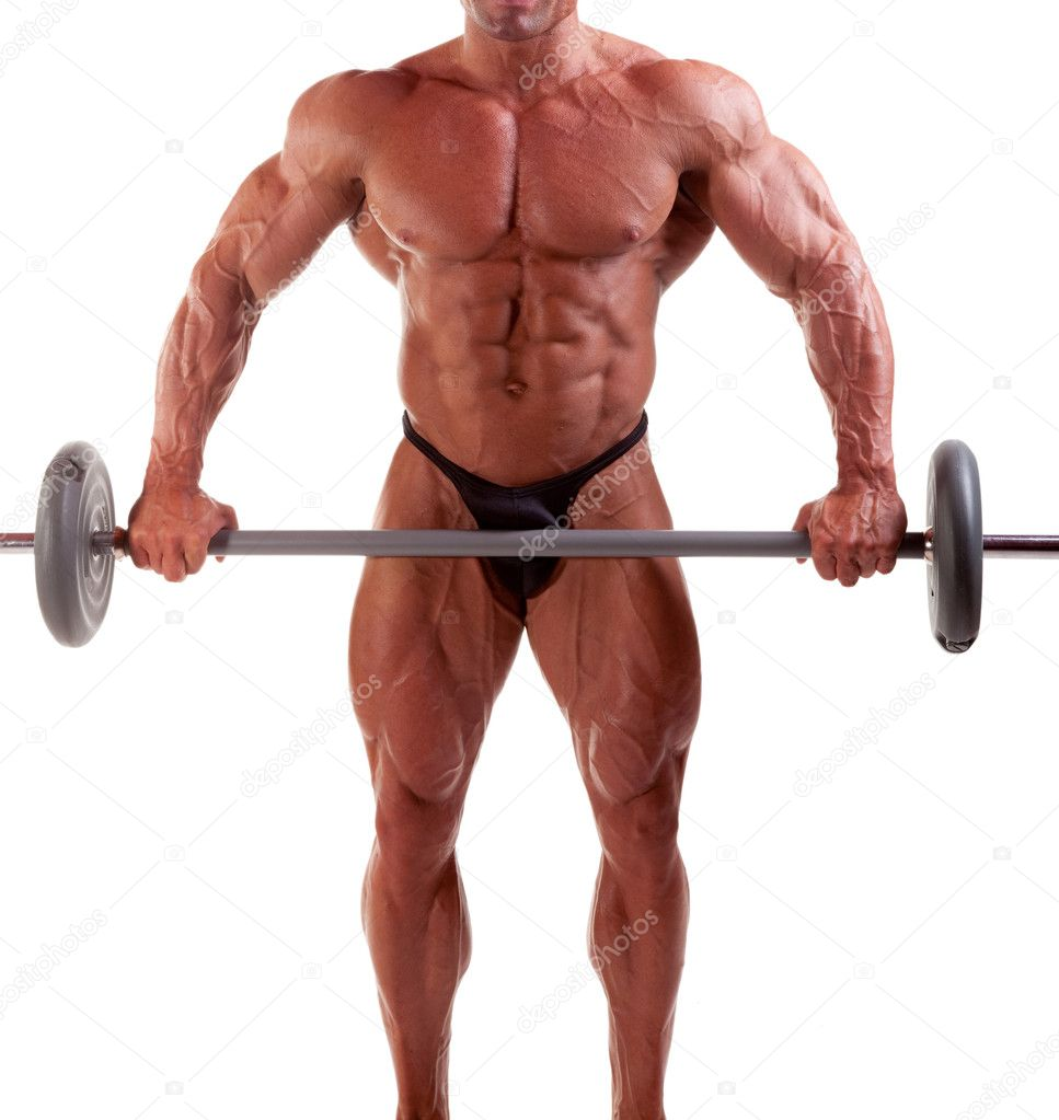 Bodybuilder exercising in front of white background  Stock Photo #6870030