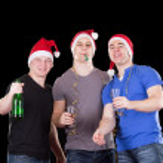 Three man wearing santa hat — Stock Photo #7911129
