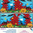 Find the differences visual puzzle - Halloween — Stock Vector