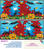 Find the differences visual puzzle - Halloween — Vetor de Stock