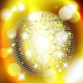 Abstract golden background with disco ball — Stock Vector