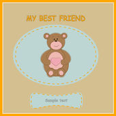Greeting card with bear — Stock Vector