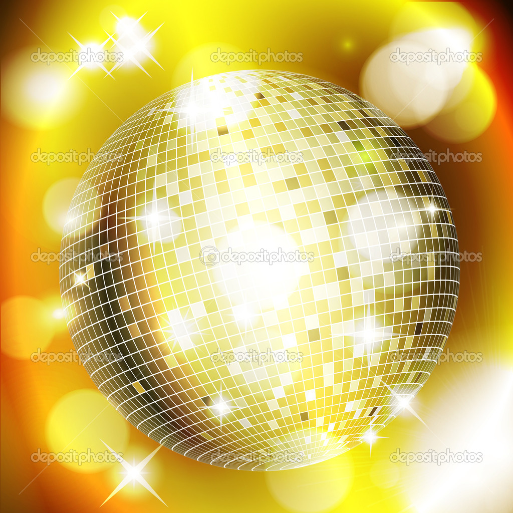 Abstract golden background with disco ball. Vector eps10 illustration — Stock Vector #6750407