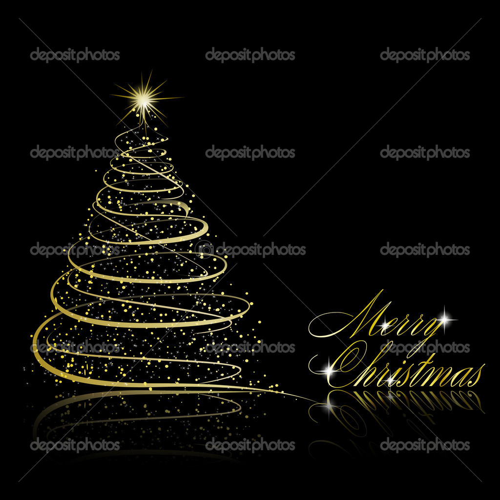 Abstract golden christmas tree on black background. Vector eps10 illustration  Stock Vector #7089947