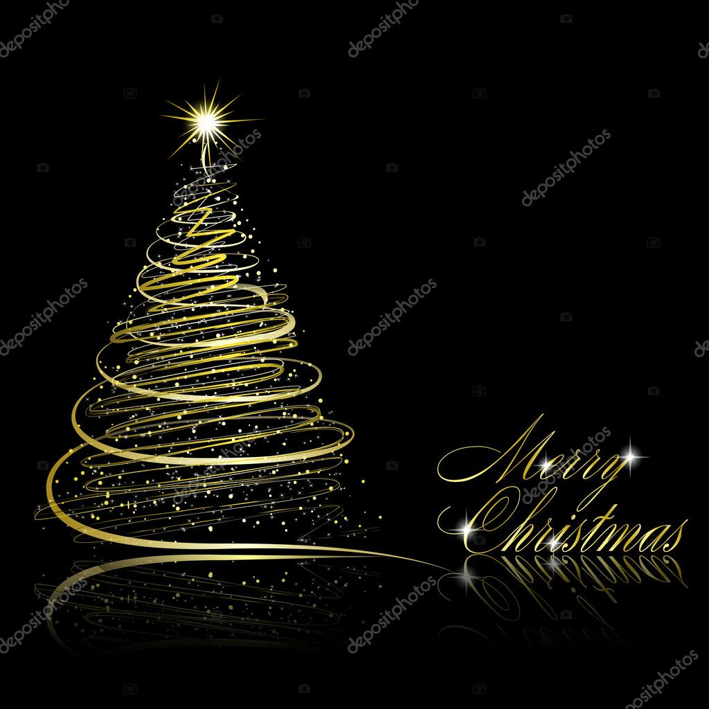Abstract golden christmas tree on black background. Vector eps10 illustration — Stock Vector #7089952